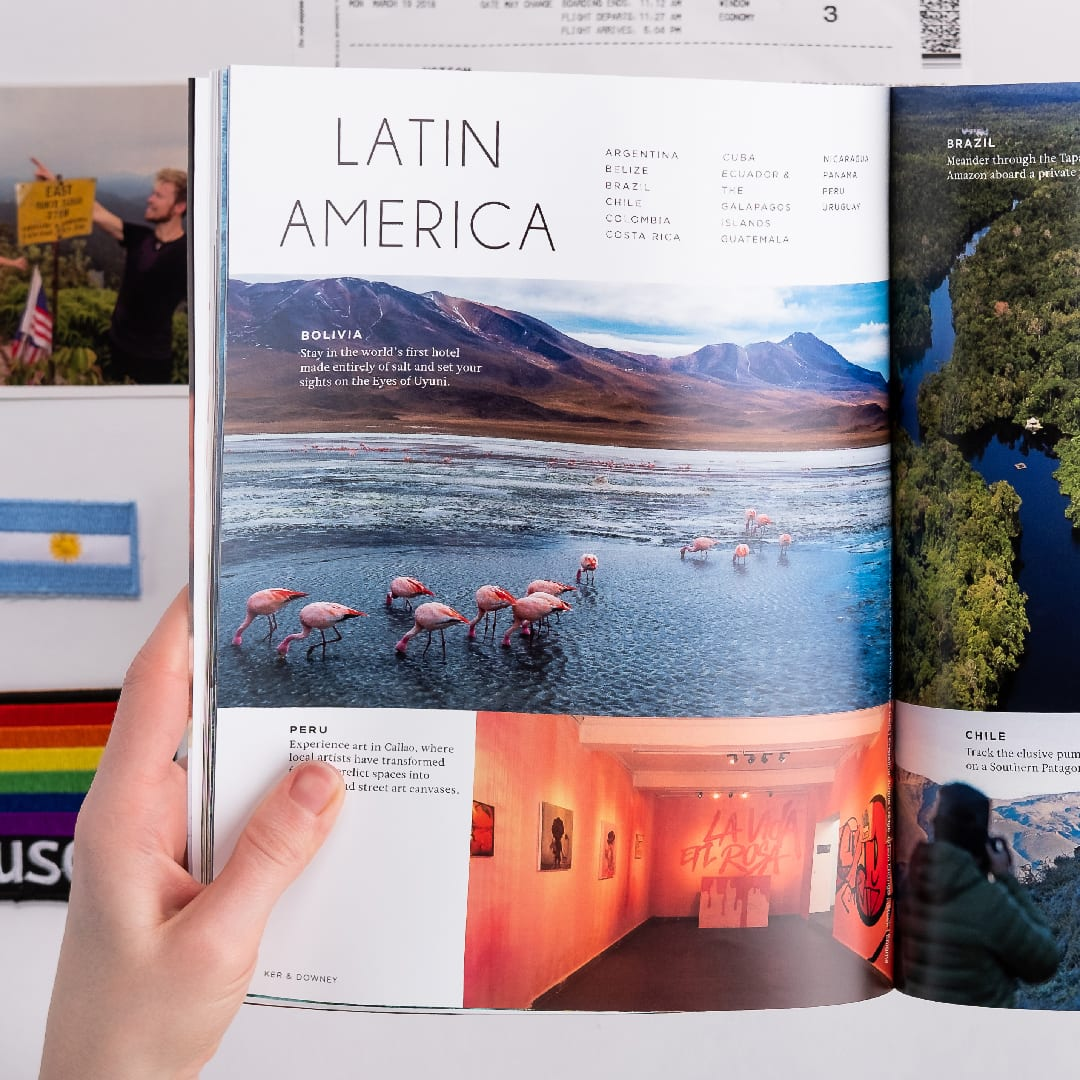 The left hand side of the Latin America spread in Quest Travelog