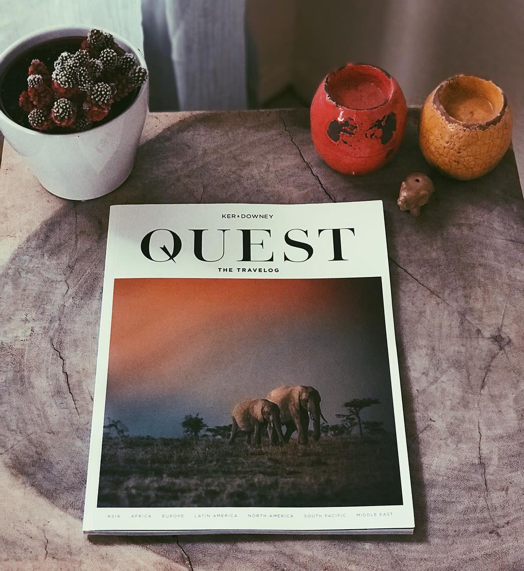 QUEST Travelog on a table