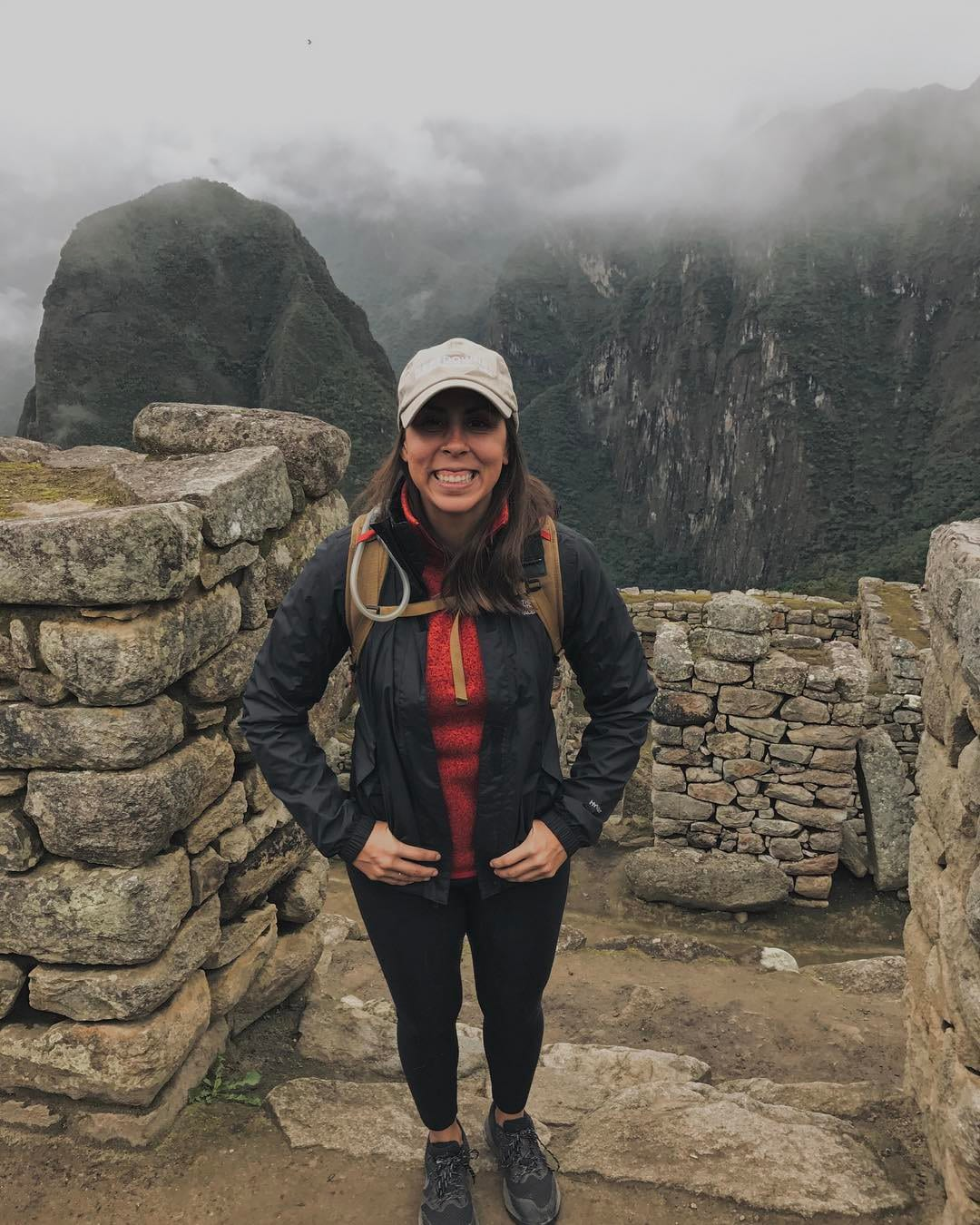 Amy in her hiking gear in Peruvian mountains