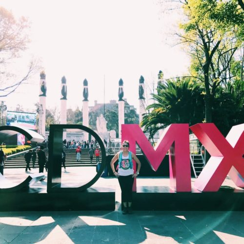 Amy in front of a sculpture n Mexico City