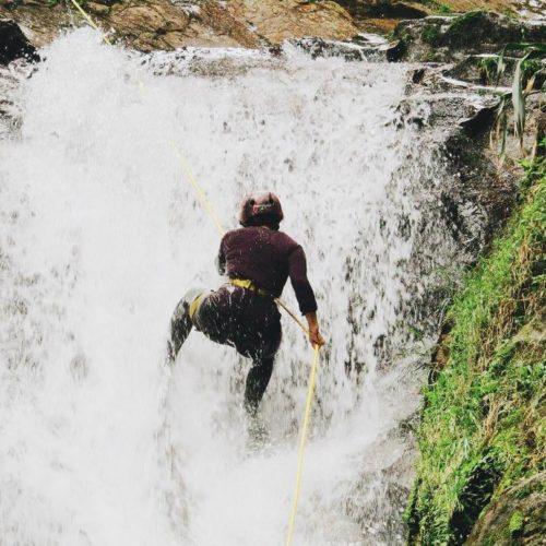 Amy Repelling a Waterfall in Antioquia